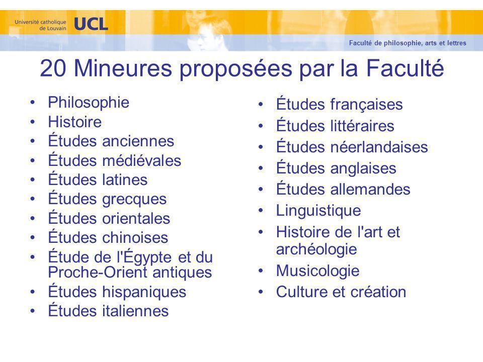 20 Mineures proposées par la Faculté