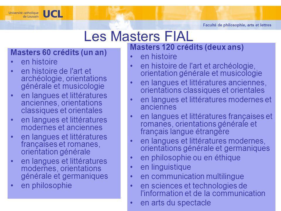 Les Masters FIAL Masters 120 crédits (deux ans) en histoire