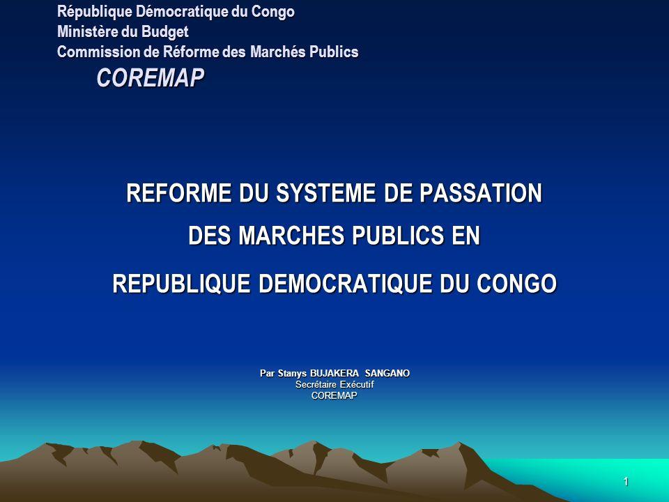 REFORME DU SYSTEME DE PASSATION DES MARCHES PUBLICS EN