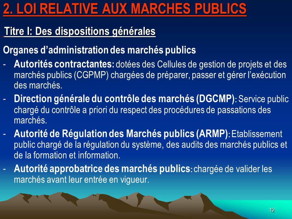 2. LOI RELATIVE AUX MARCHES PUBLICS Titre I: Des dispositions générales