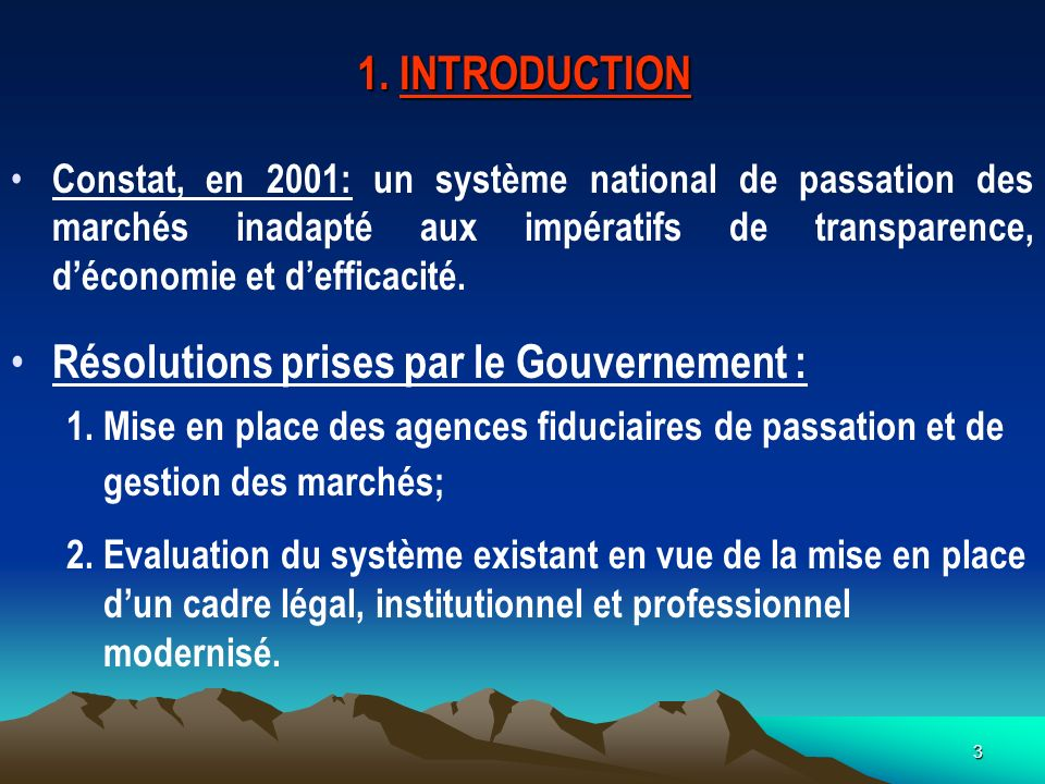 Résolutions prises par le Gouvernement :