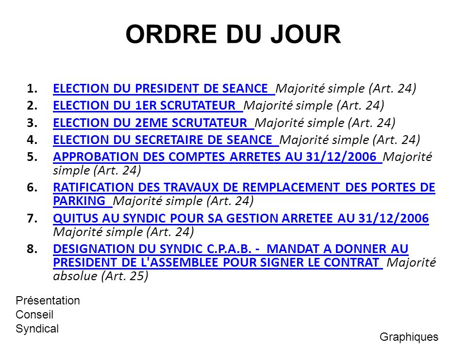 ORDRE DU JOUR 1. ELECTION DU PRESIDENT DE SEANCE Majorité simple (Art. 24) 2. ELECTION DU 1ER SCRUTATEUR Majorité simple (Art. 24)