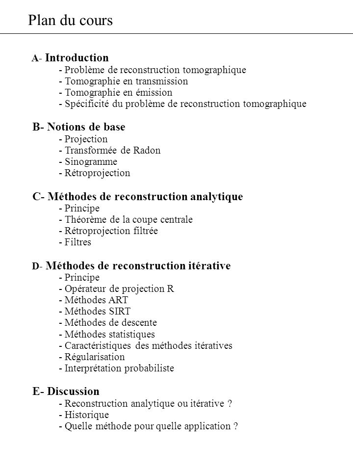 Plan du cours B- Notions de base