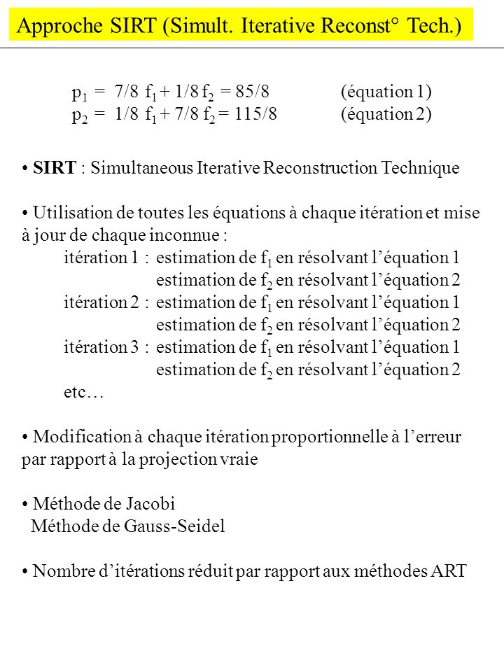 Approche SIRT (Simult. Iterative Reconst° Tech.)