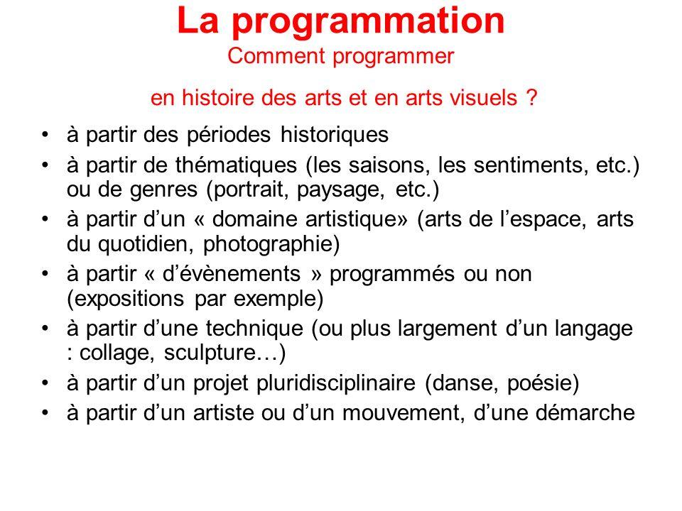 La programmation Comment programmer en histoire des arts et en arts visuels