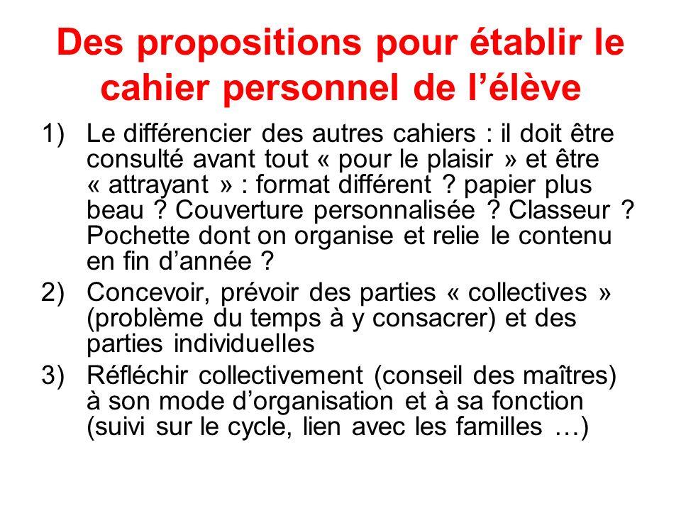 Des propositions pour établir le cahier personnel de l'élève