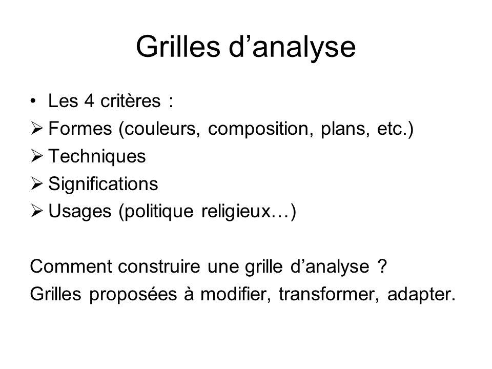 Grilles d'analyse Les 4 critères :