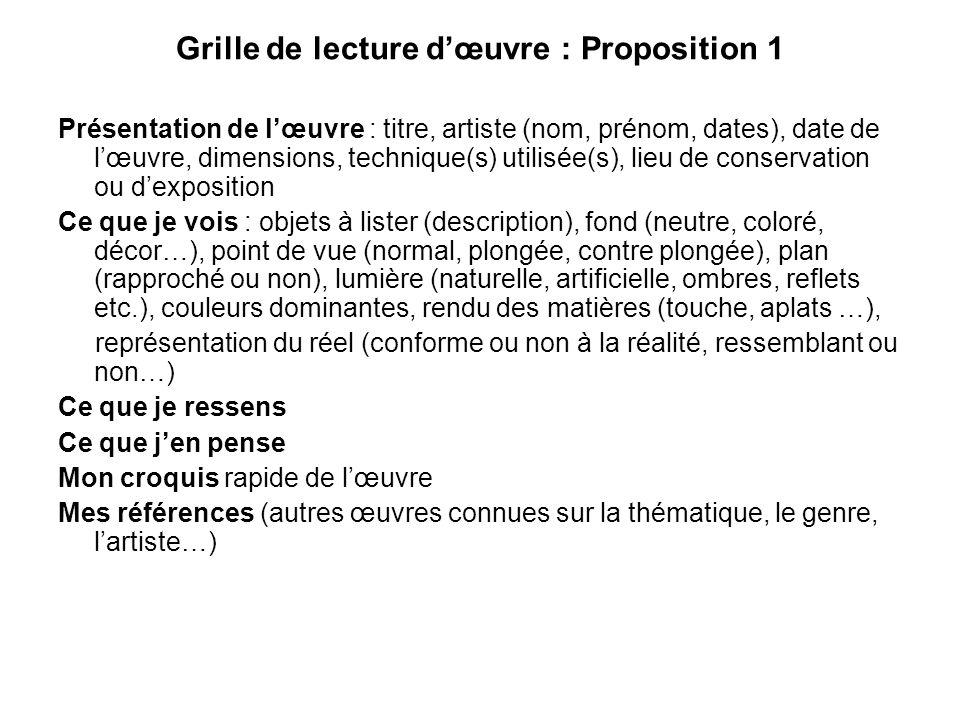 Grille de lecture d'œuvre : Proposition 1