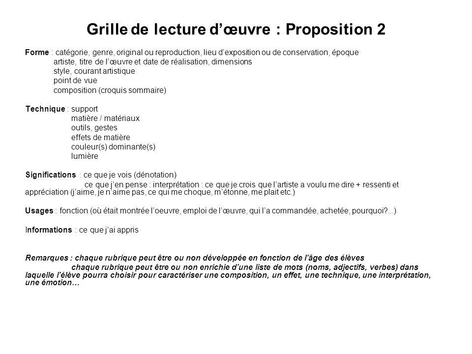Grille de lecture d'œuvre : Proposition 2