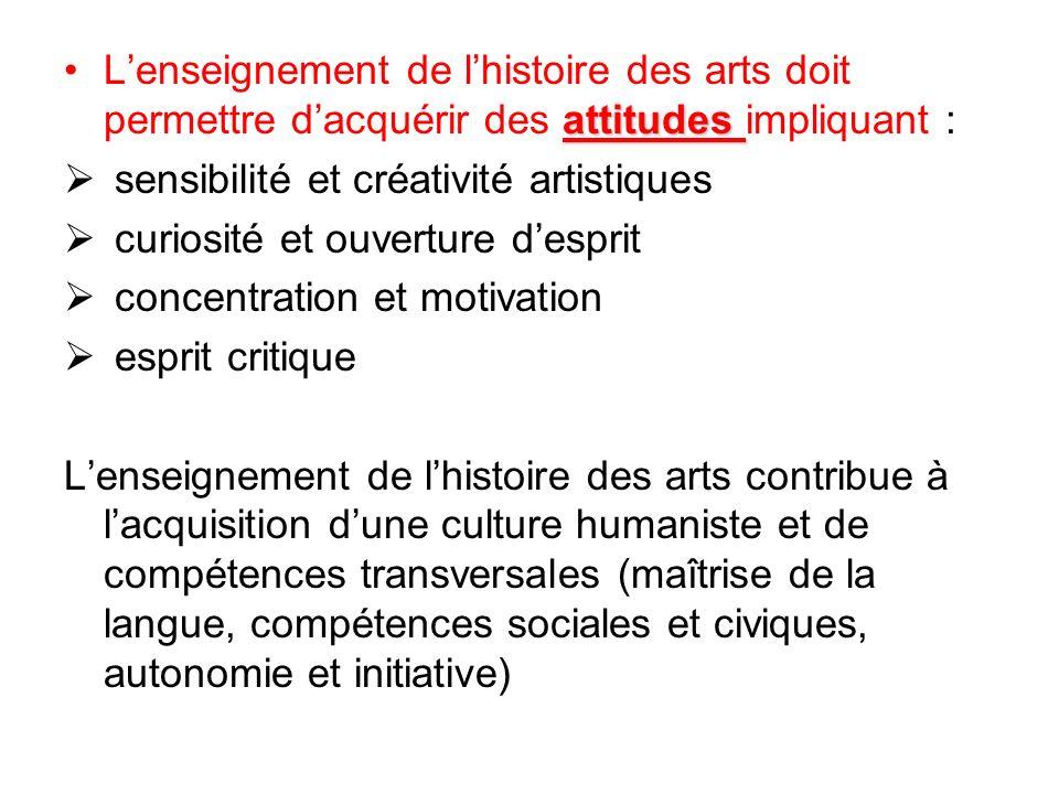 L'enseignement de l'histoire des arts doit permettre d'acquérir des attitudes impliquant :