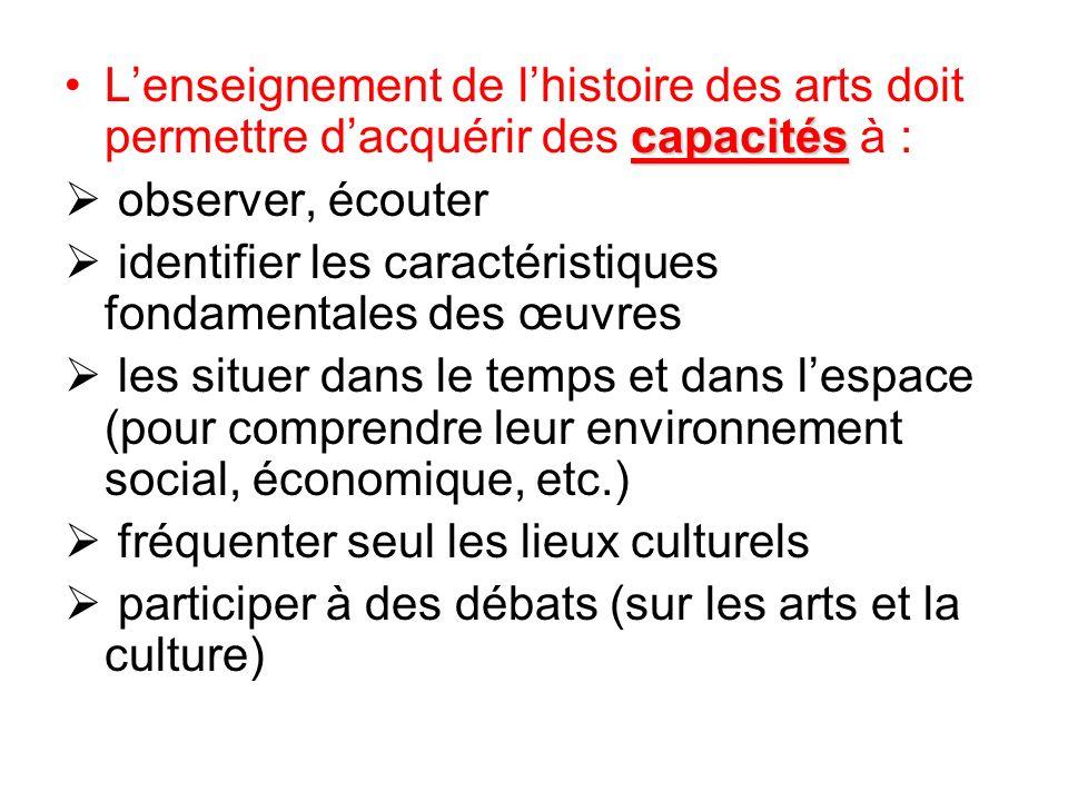 L'enseignement de l'histoire des arts doit permettre d'acquérir des capacités à :