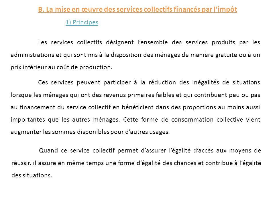 B. La mise en œuvre des services collectifs financés par l'impôt