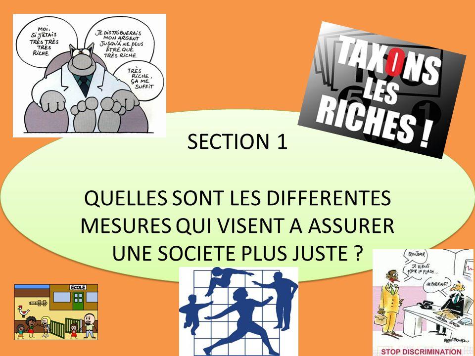 SECTION 1 QUELLES SONT LES DIFFERENTES MESURES QUI VISENT A ASSURER UNE SOCIETE PLUS JUSTE