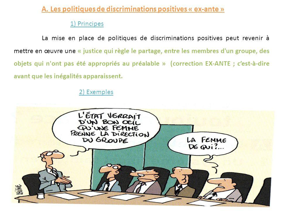 A. Les politiques de discriminations positives « ex-ante »