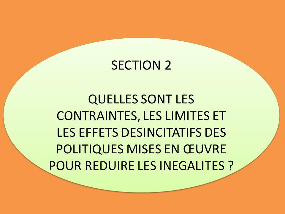 SECTION 2 QUELLES SONT LES CONTRAINTES, LES LIMITES ET LES EFFETS DESINCITATIFS DES POLITIQUES MISES EN ŒUVRE POUR REDUIRE LES INEGALITES