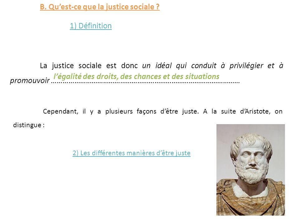 B. Qu'est-ce que la justice sociale 1) Définition