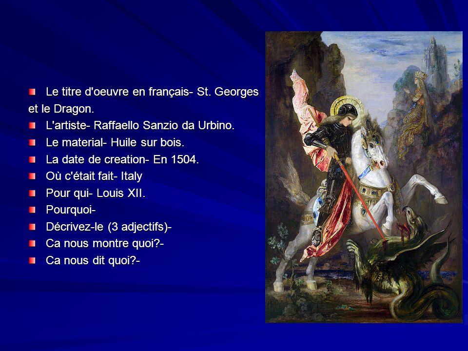 Le titre d oeuvre en français- St. Georges