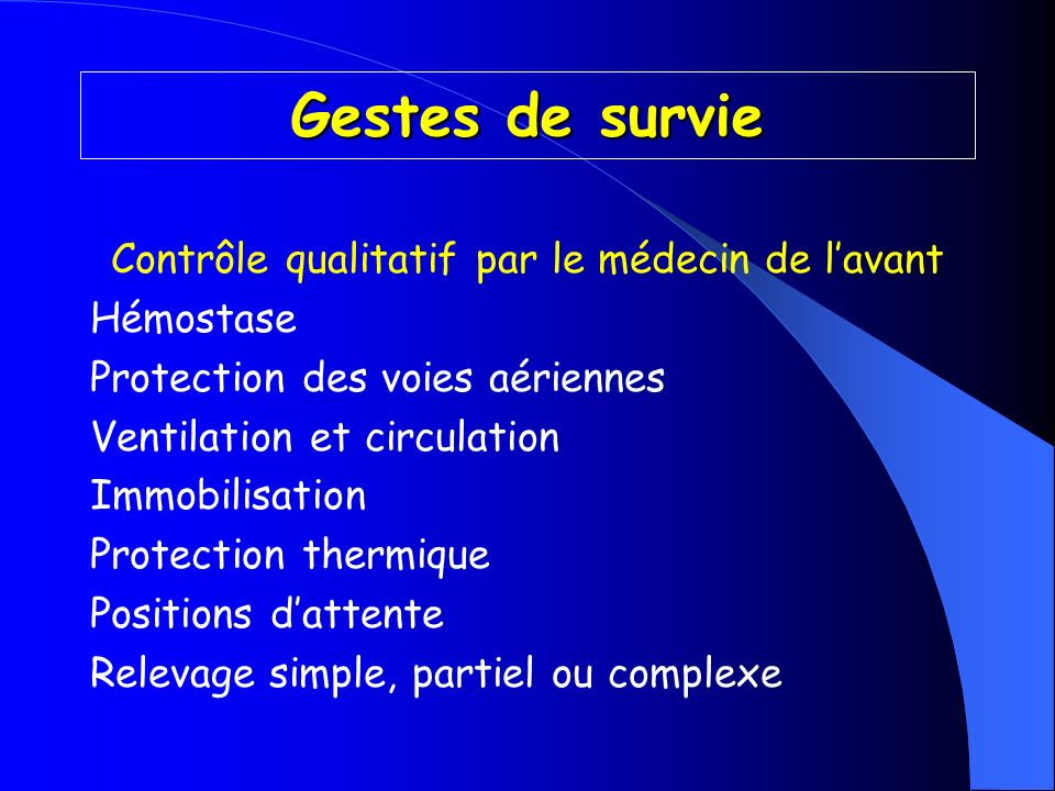Contrôle qualitatif par le médecin de l'avant