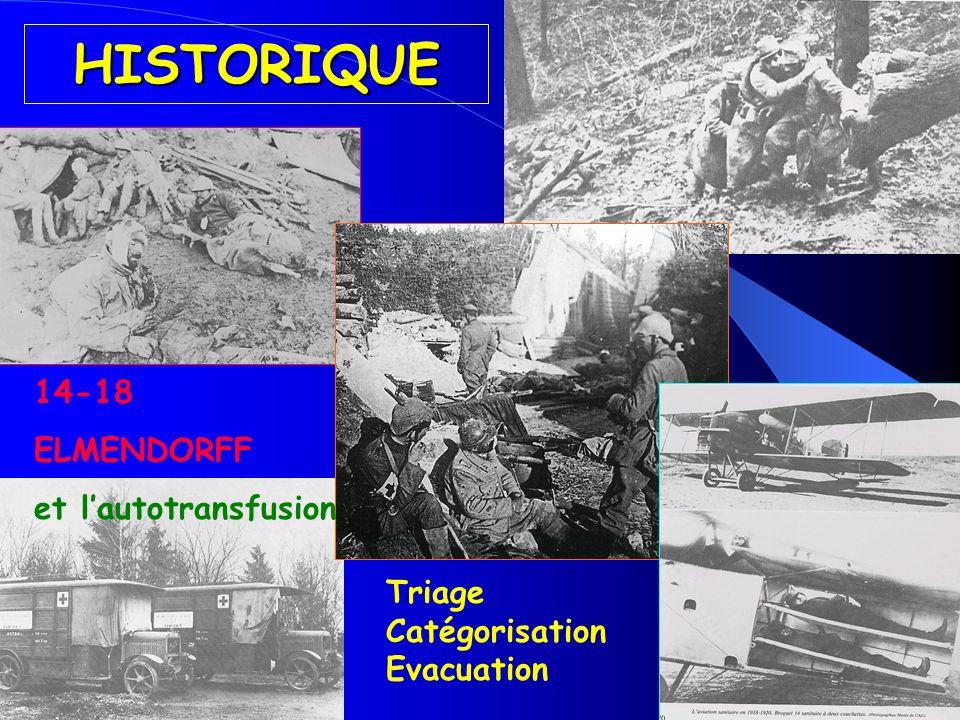 HISTORIQUE 14-18 ELMENDORFF et l'autotransfusion Triage Catégorisation
