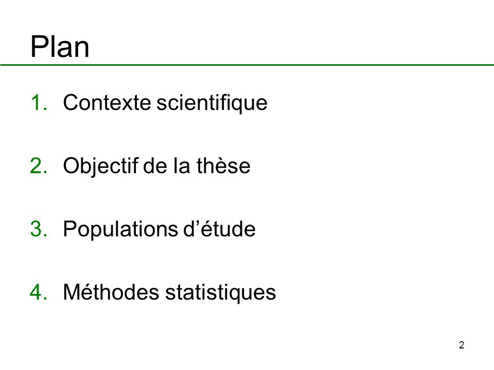 Plan Contexte scientifique Objectif de la thèse Populations d'étude