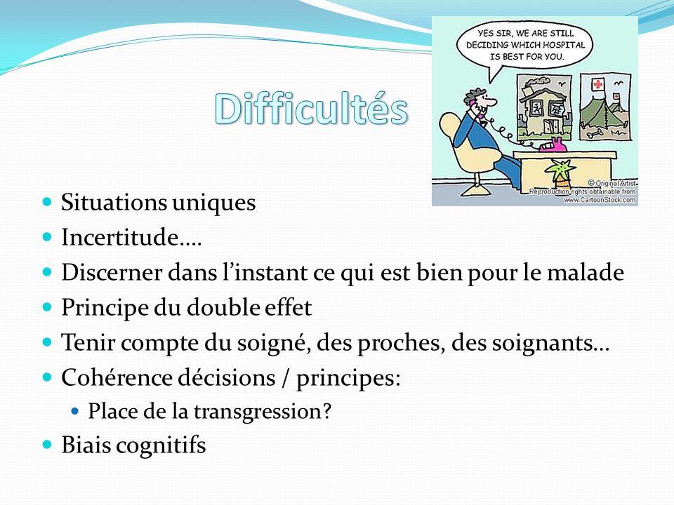 Difficultés Situations uniques Incertitude….