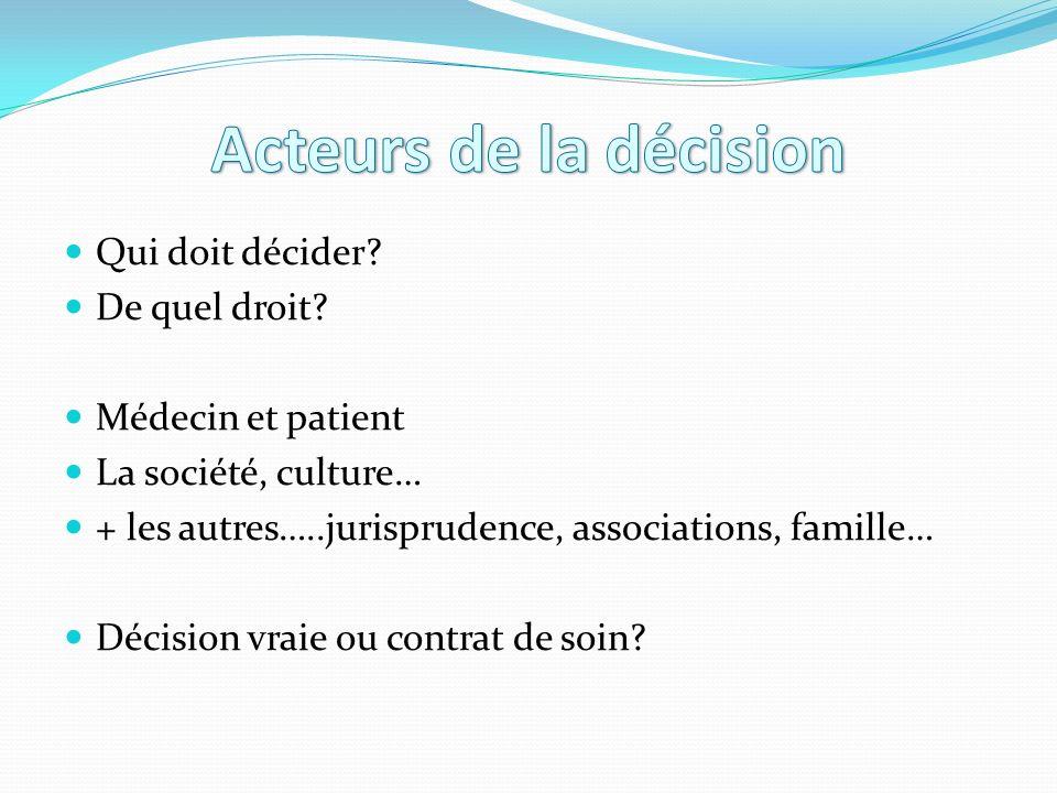 Acteurs de la décision Qui doit décider De quel droit