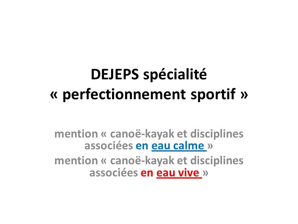 DEJEPS spécialité « perfectionnement sportif »