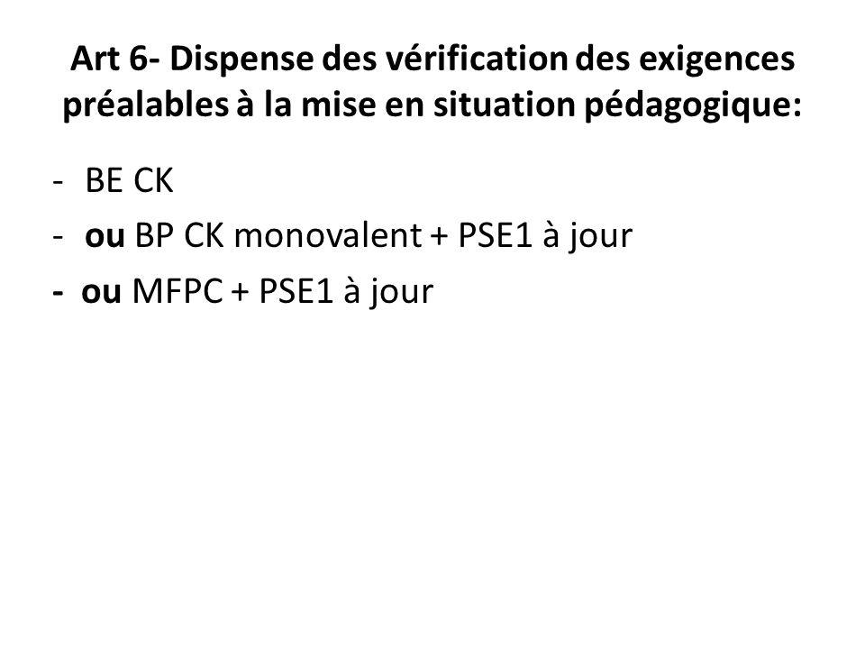 Art 6- Dispense des vérification des exigences préalables à la mise en situation pédagogique: