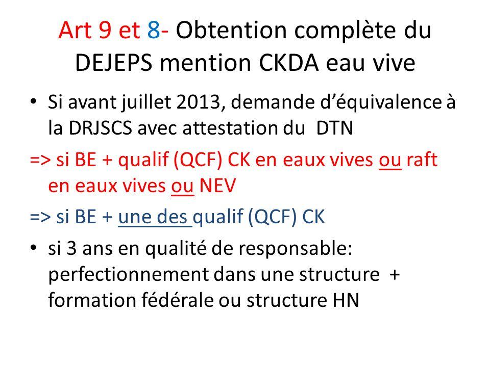 Art 9 et 8- Obtention complète du DEJEPS mention CKDA eau vive