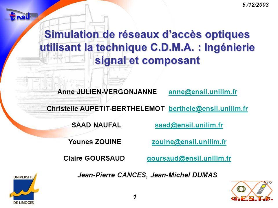 Simulation de réseaux d'accès optiques utilisant la technique C. D. M