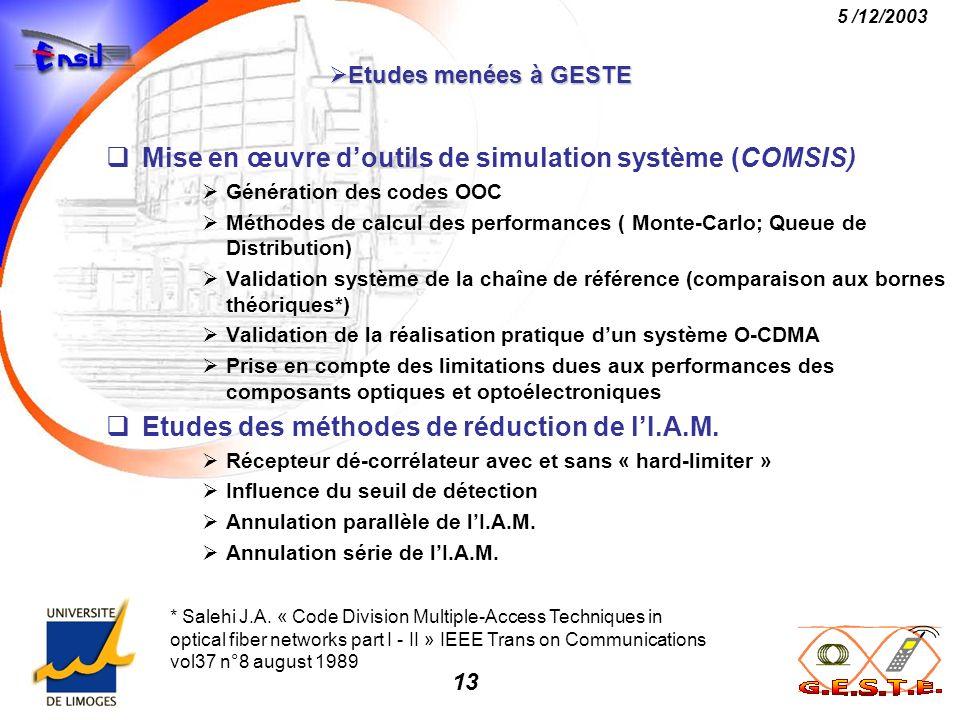 Mise en œuvre d'outils de simulation système (COMSIS)