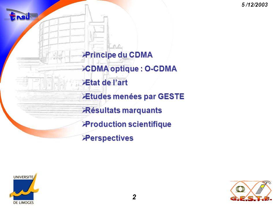 Principe du CDMA CDMA optique : O-CDMA. Etat de l'art. Etudes menées par GESTE. Résultats marquants.