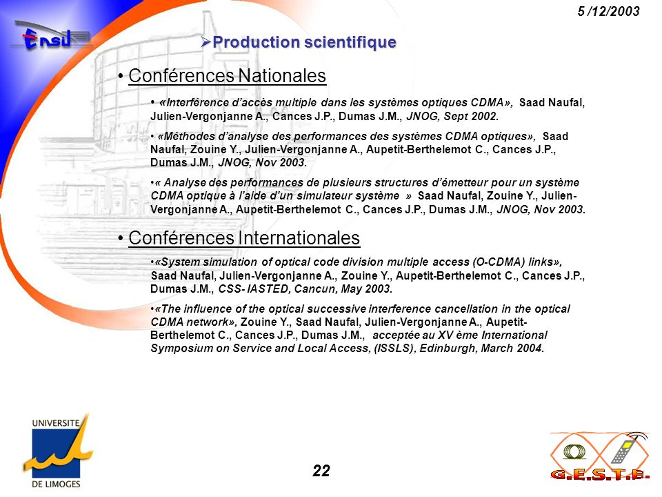 Production scientifique