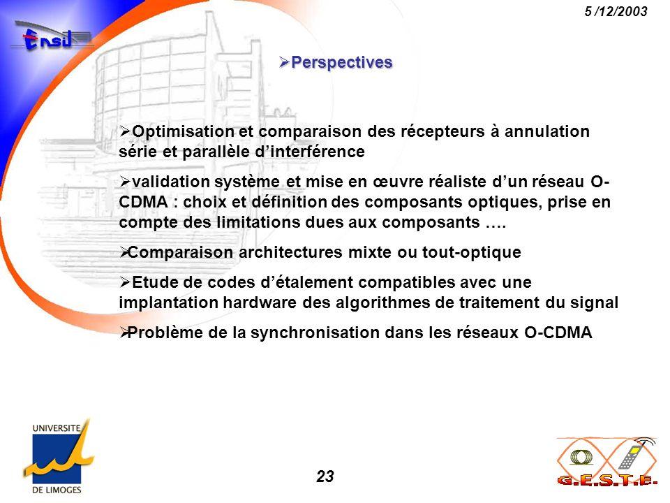 Perspectives Optimisation et comparaison des récepteurs à annulation série et parallèle d'interférence.