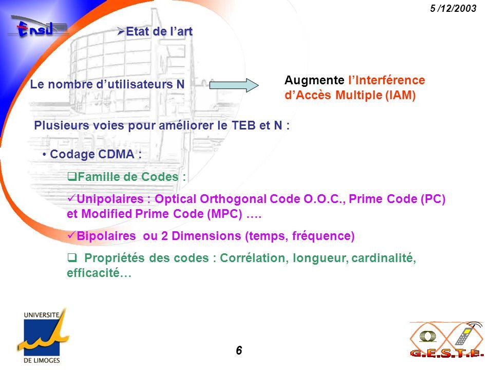 Etat de l'art Augmente l'Interférence d'Accès Multiple (IAM) Le nombre d'utilisateurs N. Plusieurs voies pour améliorer le TEB et N :