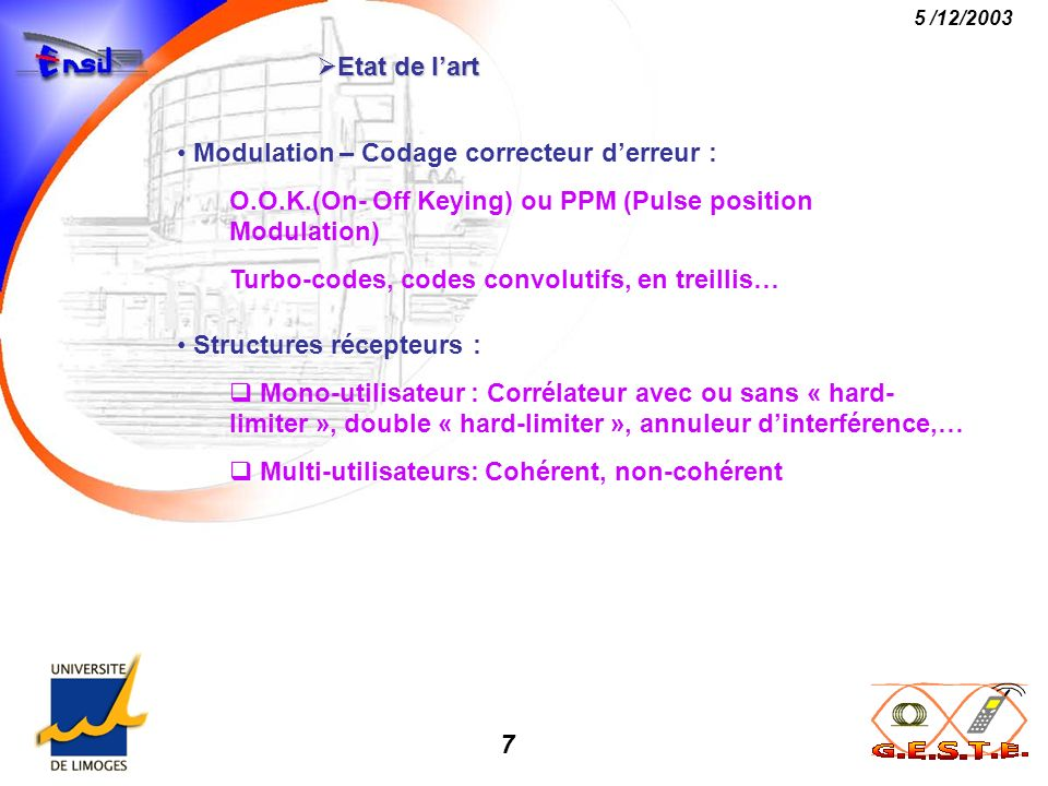 Etat de l'art Modulation – Codage correcteur d'erreur : O.O.K.(On- Off Keying) ou PPM (Pulse position Modulation)