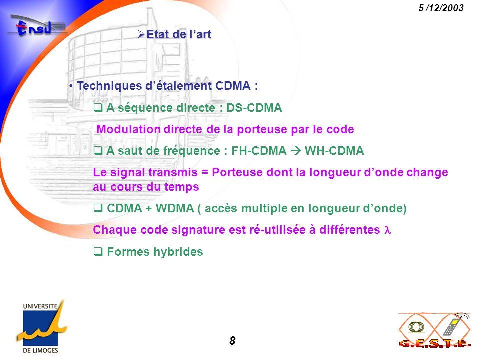 Etat de l'art Techniques d'étalement CDMA : A séquence directe : DS-CDMA. Modulation directe de la porteuse par le code.