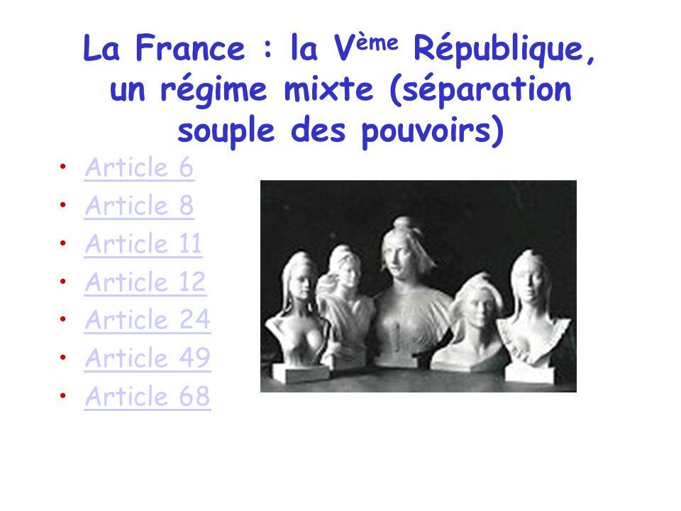 La France : la Vème République, un régime mixte (séparation souple des pouvoirs)