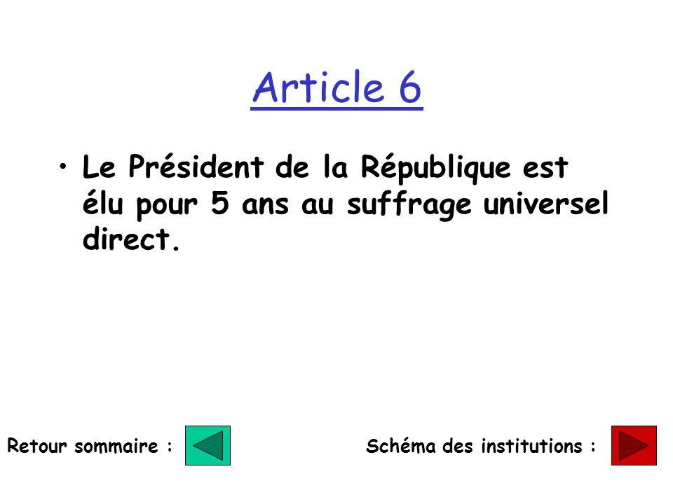 Article 6 Le Président de la République est élu pour 5 ans au suffrage universel direct. Retour sommaire :