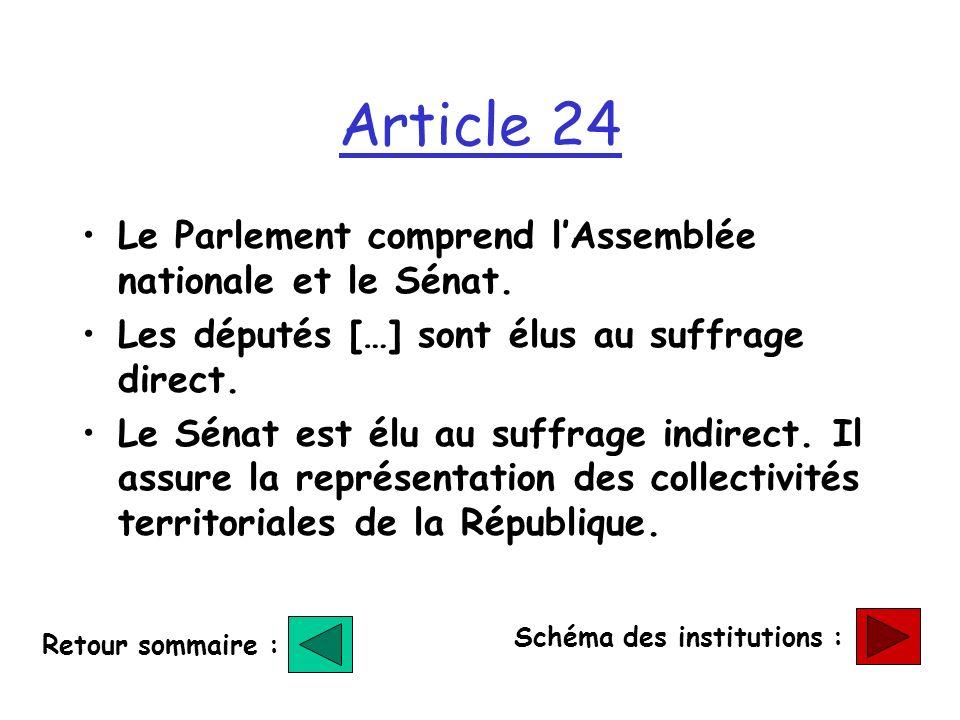 Article 24 Le Parlement comprend l'Assemblée nationale et le Sénat.