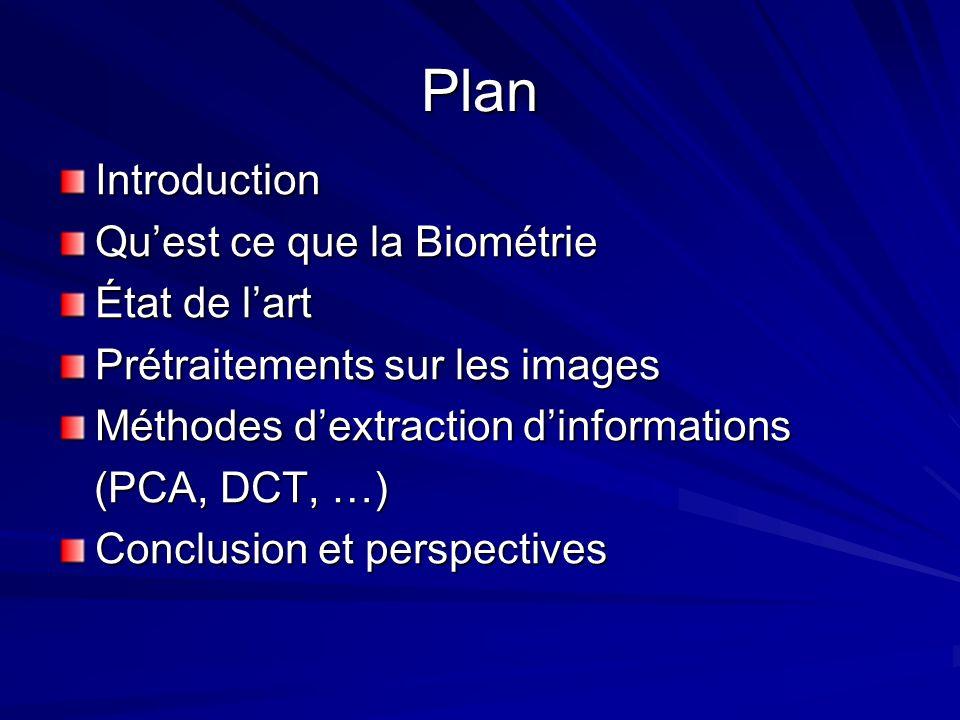 Plan Introduction Qu'est ce que la Biométrie État de l'art