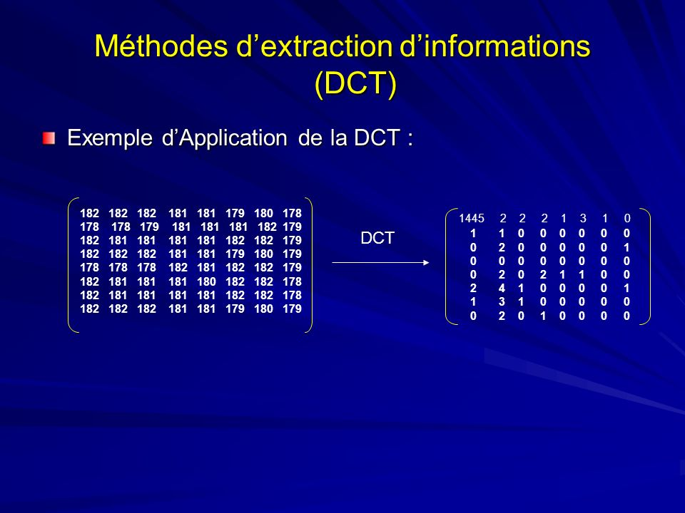 Méthodes d'extraction d'informations (DCT)
