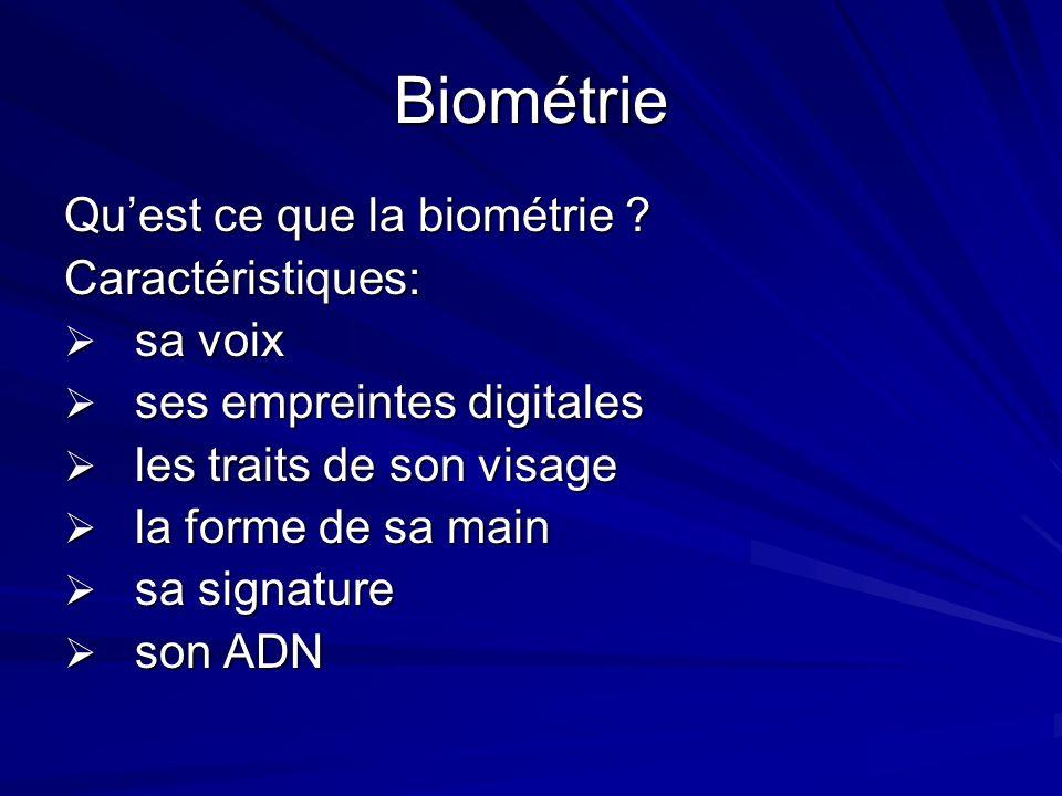Biométrie Qu'est ce que la biométrie Caractéristiques: sa voix