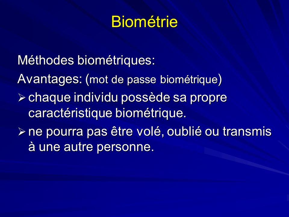 Biométrie Méthodes biométriques: Avantages: (mot de passe biométrique)