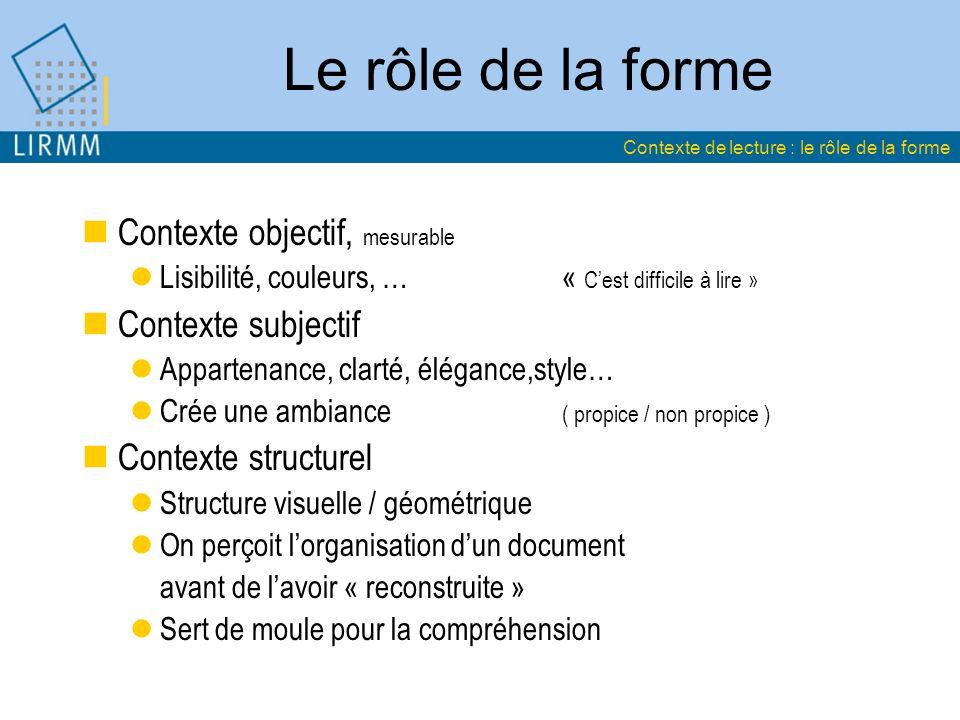 Le rôle de la forme Contexte objectif, mesurable Contexte subjectif