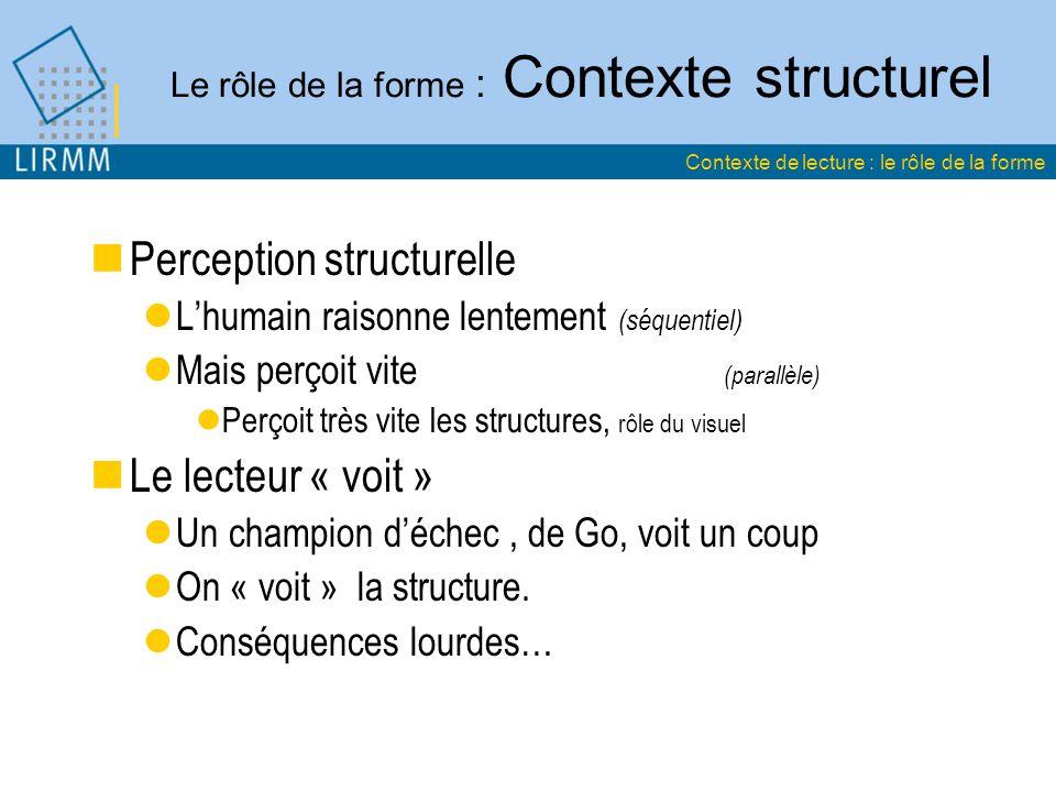 Le rôle de la forme : Contexte structurel