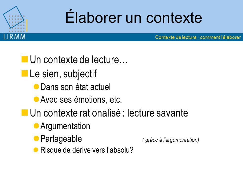 Élaborer un contexte Un contexte de lecture… Le sien, subjectif