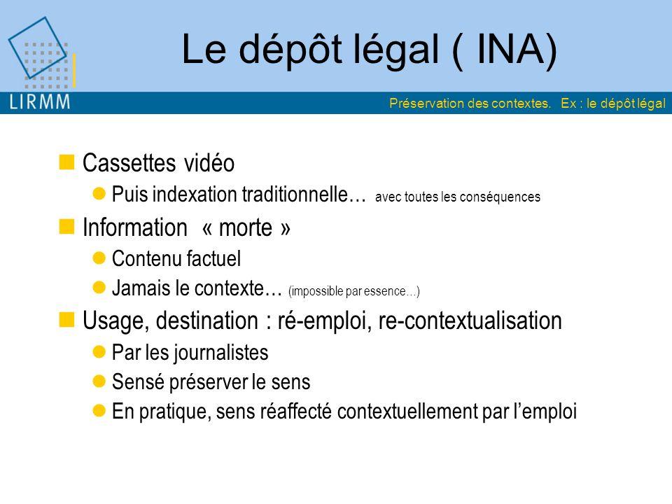 Le dépôt légal ( INA) Cassettes vidéo Information « morte »