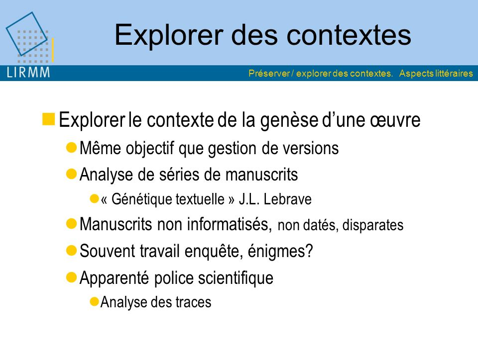 Explorer des contextes