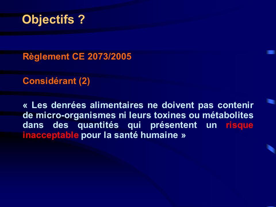 Objectifs Règlement CE 2073/2005 Considérant (2)